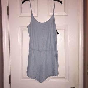 NWT Express women's jean romper overalls small
